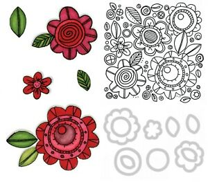 """Sizzix FRAMELITS SET of 10 DIES & 1 STAMP """"FLOWERS #6"""" Discontinued 2014 rrp £20"""
