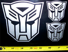 Transformers - Autobot Set of 3 HQ Single Color Silver Vinyl Sticker Decal em