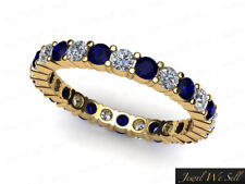 1.40Ct Sapphire Diamond Classic Shared Prong Eternity Ring 18k Gold AAA H SI2