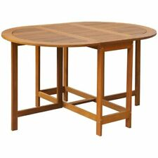 vidaXL Solid Acacia Wood Outdoor Drop Leaf Table Oval Dinning Stand Furniture