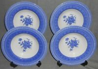 Set (4) Churchill OUT OF THE BLUE PATTERN Rimmed Soup Bowls MADE IN ENGLAND