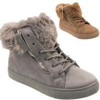 Ladies Girls Kids Fur Lined Ankle Zip Pull on Winter Warm Boots Women Shoes Size