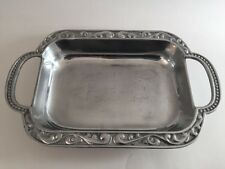 Vintage Lenox Metal Silver Tone Heavy Handled Platter Tray Bowl Scroll Dot