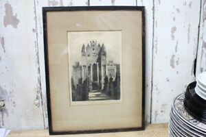 Antique Print Cathedral Chapel Church England UK Pencil Signed Framed Matted