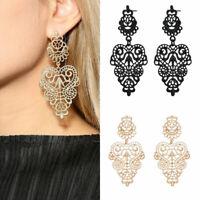 lace flower hollow Long Bohemian Pierced drop dangle earrings women girl lady