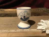 "Delft Blue & White Ceramic Egg Cup Handpainted Windmill Floral Design 2 1/2""x2"""
