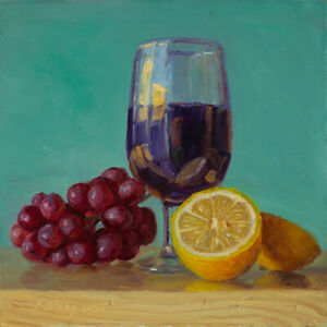 """Original oil painting a day still life grapes cup of red wine lemon 8x8"""", Y Wang"""