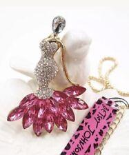 Betsey Johnson Necklace Dancer Flamingo Pink  White CRYSTALS  Enamel