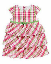 Gymboree Bright Tulip Pink Plaid Bow Ruffle Tiered Dress Girls 5T NEW NWT
