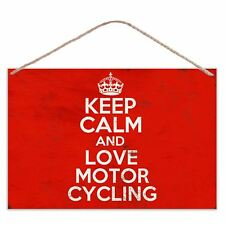 Keep Calm And Love Motor Cycling - Vintage Look Metal Large Plaque Sign 30x20cm