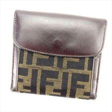 Fendi Wallet Purse Zucca Black Beige Woman unisex Authentic Used T6153