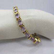 Sterling SILVER OVAL purple Tennis bracelet 925 women 7 inche