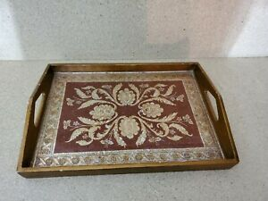 Robert M. Weiss Wood Serving Tray w Reverse Hand Painted Glass - Made in Peru