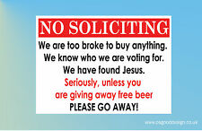 No Soliciting Free Beer Found Jesus Funny Door Sign Home Salesmen Junk Mail B115