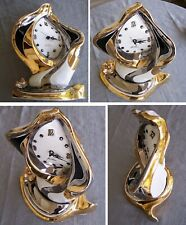 Large Porcelain decorative Melting desk clock 1990s (surrealism Melting artistic