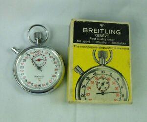 Vintage Breitling Geneve, Wakmann 7j Swiss Mechanical 1/10  Stopwatch, W/Box