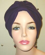 Turban ChemoHat Purple  Knit Cancer Hat Hijab Hair Loss Turban Alopecia