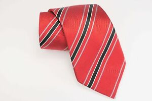"Donald Trump Signature Necktie 60"" Red Black Grey Striped Luxury Silk Neck Tie"