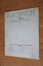 Marconiphone Model 237 238 & 245 mains radiogram Genuine Service Manual