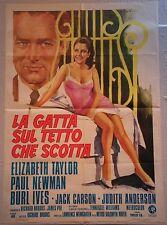Manifesto LA GATTA SUL TETTO CHE SCOTTA '68  ELIZABETH TAYLOR PAUL NEWMAN MGM 2F