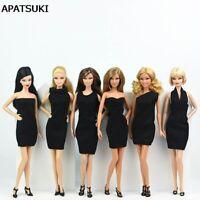 6pcs/lot Black Little Dress For Barbie Doll Evening Gown Dress Vestidoes Clothes