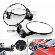 "N 1Pair Motorcycle Round 7/8"" Handle Bar End Foldable Rear View Side Mirrors TY1"