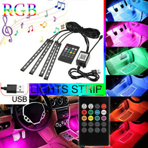 RGB LED Glow Car Interior Lamp Under Dash Footwell Seats Inside Lighting USB