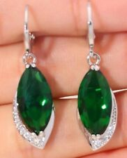 Stunning Emerald Green Like Diamond Crystal Dangle Earrings Silver BEAUTIFUL