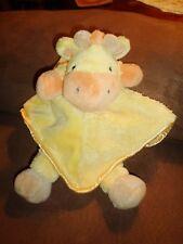 Blanket GIRAFFE leg Orange Yellow Carters Satin Security Rattle Plush Baby Lovey