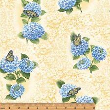Benartex Hydrangea Blue by Jackie Robinson 3092 30 Yellow Hydrangea Fresco