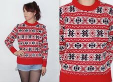 Vintage 1990's Red White Black SNOWFLAKE PATTERNED SLOUCH WINTER Jumper Small