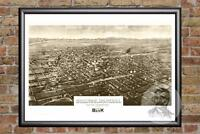 Vintage Billings, MT Map 1904 - Historic Montana Art - Old Victorian Industrial