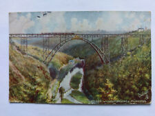 Müngsten Kaiser Wilhelm Railway Bridge Germany Vintage colour Postcard 1907