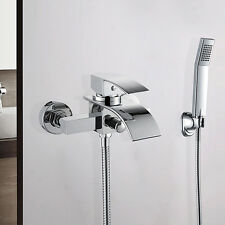Bathroom Waterfall Shower Faucet Chrome Handheld Handshower Bath Tub Mixer Taps