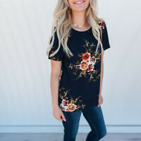Summer Womens Casual Floral Tops Blouse Short Sleeve Ladies Crew Neck T-Shirt