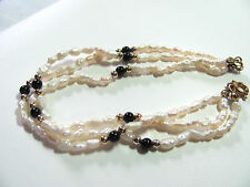 3 Strand Fresh Water Pearl Bracelet to Wear or Re-String Gold Black Beads