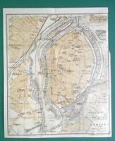 "1925 BAEDEKER MAP - LUBECK City Plan Germany 7 x 8.5"" (17 x 21 cm)"