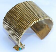 Cuff Bangle Yellow Gold Plated 24K Bracelet With Dangle Heart Charm
