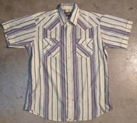 Panhandle Slim Men's XL Western Pearl Snap Short Sleeve Button Up Shirt Yellow