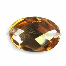 100x Wholesale Charms Golden Oval Flatback Faced Sew On Resin Beads 13*18 24552