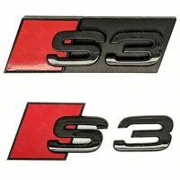 Audi S3 Gloss Black Grille & Boot Badge Emblem Set - Black Out Stealth Set