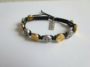 Handwoven Blessing Bracelet with Benedictine Medal Charms