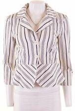 MONSOON Womens Peplum Blazer Jacket 3/4 Sleeve UK 10 Small White Striped  LY02