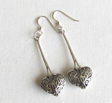Long Filigree Heart Tibetan Style 925 Sterling Silver Drop PIERCED Earrings