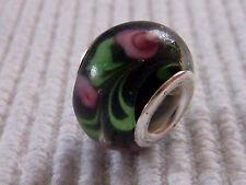 Glasperle Element European Bead Rose schwarz Lampwork Spacer Rondell 1224