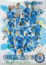 """CHELSEA F.C. """"THE BLUES-COLLAGE OF PLAYERS"""" FOOTBALL POSTER-John Terry,D. Drogba"""