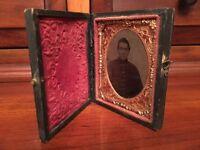 Civil War 1/9th plate Ambrotype Confederate Soldier, North Carolina? Full Case