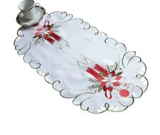 White Christmas Tablecloth Table Runner with Red Candles 35 x 70cm oval