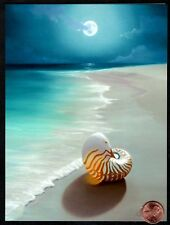 Shell Beach Moon Ocean Night Waves Sand - Large Blank Note Greeting Card New