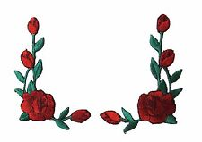"#3964R Lot 2Pcs 2 1/2""H Red Rose Flower Embroidery Iron On Applique Patch/Pair"